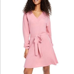 SEQUIN HEARTS Pink Tie Front Sweater Dress Size L